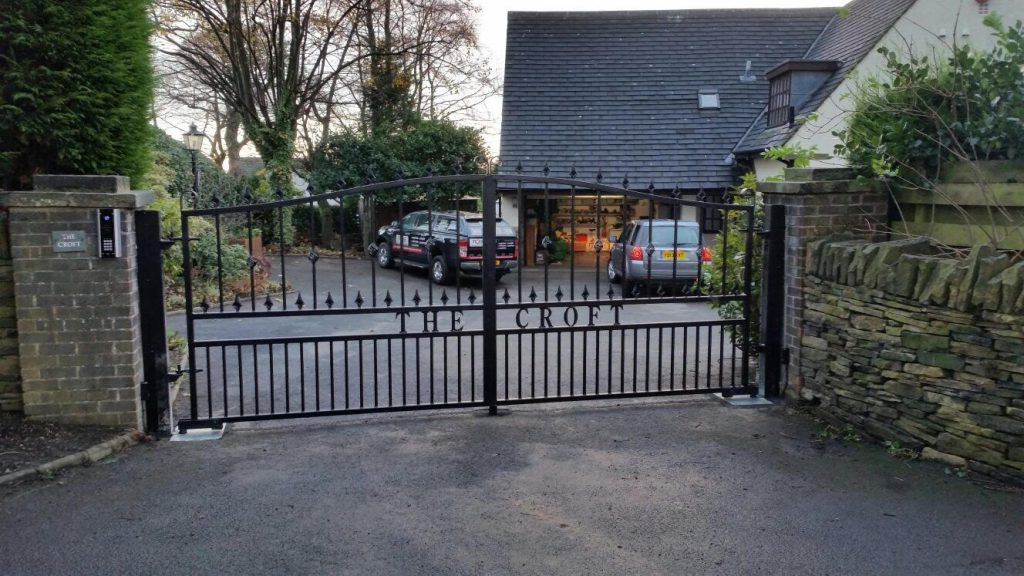 Automated wrought iron gate installation in Huddersfield