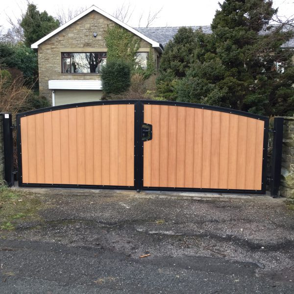 Composite board sliding gate installation